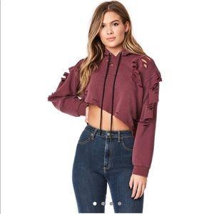 LF maroon distressed cropped hoodie